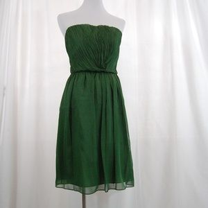 🆕 Limited Strapless Green Gathered Front Dress